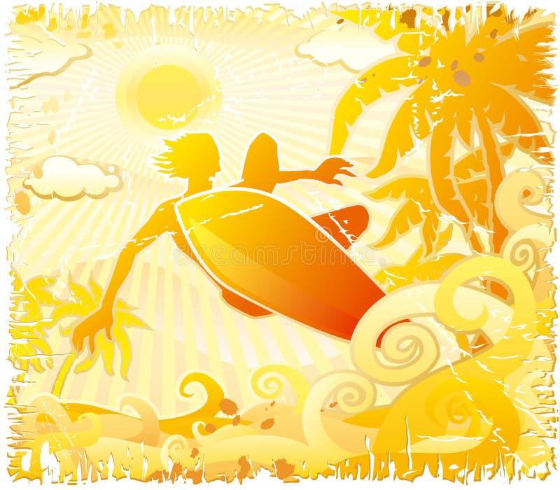 grunge surfer διανυσματική απεικόνιση