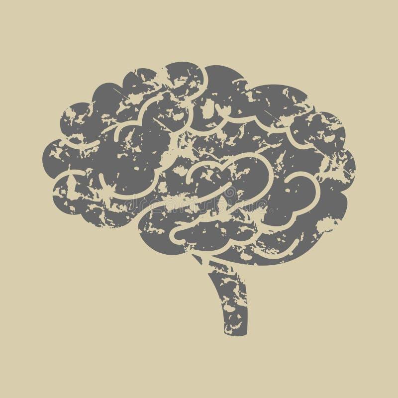 Grunge sylwetka móżdżkowa wektorowa ikona royalty ilustracja