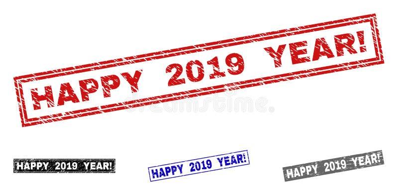 Grunge SZCZĘŚLIWI 2019 rok! Textured prostokąta znaczka foki ilustracja wektor