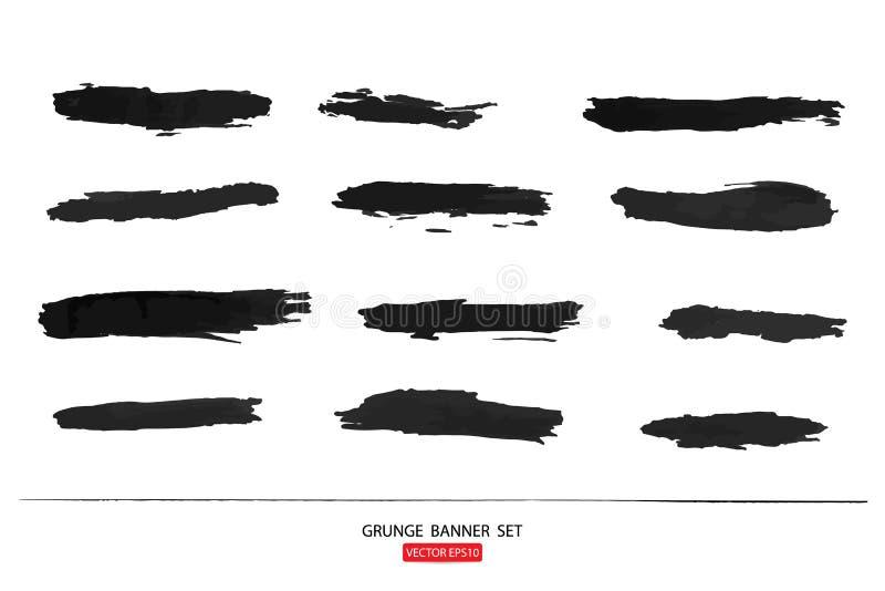 Grunge sztandaru szablonu ręka rysujący malujący porysowany grunge projekta sztandaru szablon dla promoci Ilustracja szablon Grun ilustracji