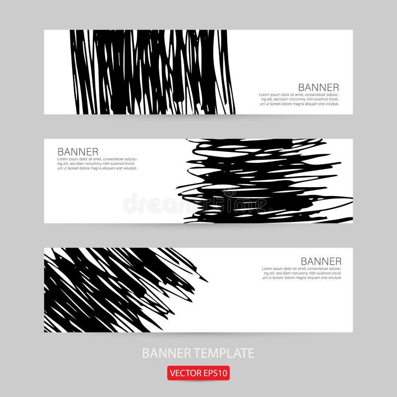 Grunge sztandaru szablonu ręka rysujący malujący porysowany grunge projekta sztandaru szablon dla promoci Ilustracja szablon o ilustracja wektor