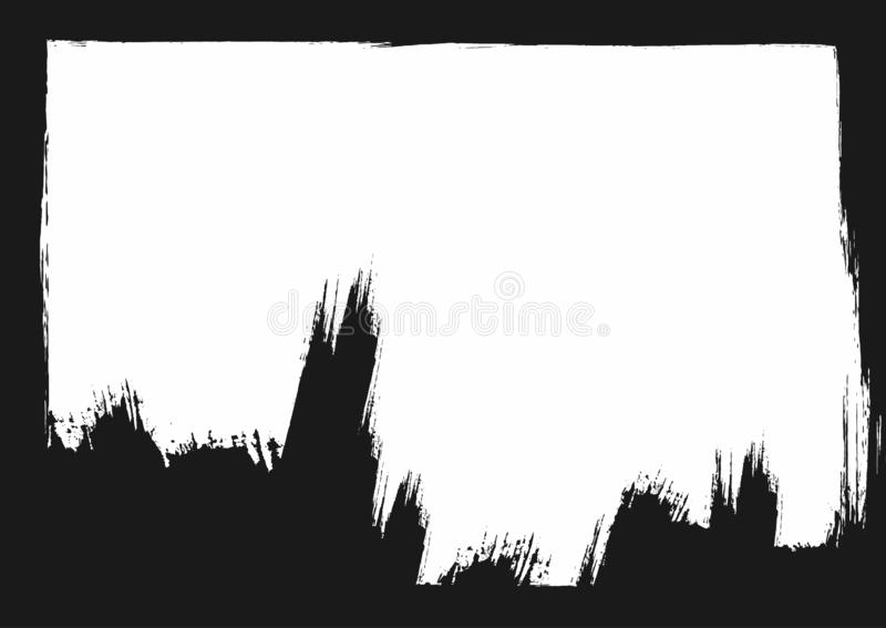 Grunge tło z ramy i muśnięcia uderzeniami Akwarela, nakreślenie, farba royalty ilustracja