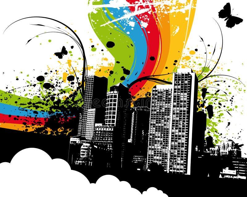 grunge tęczowy miasta. royalty ilustracja