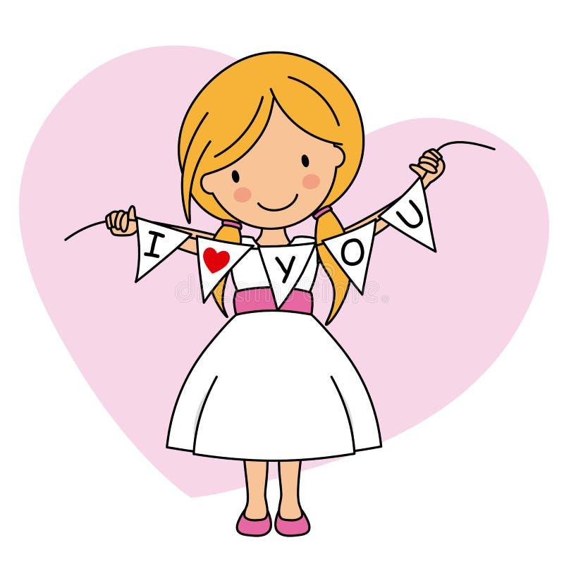 grunge tła miłości księgi karty Szczęśliwa dziewczyna z małymi flagami royalty ilustracja