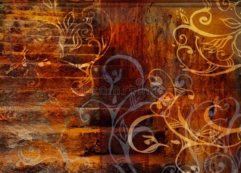 grunge tła schodów kwitnie ilustracji