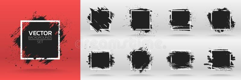 Grunge tła ustawiający Szczotkarski czarny farba atramentu uderzenie nad kwadrat ramą ilustracja wektor