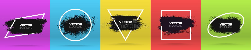 Grunge tła ustawiający Szczotkarski czarny farba atramentu uderzenie nad różnorodną ramą również zwrócić corel ilustracji wektora ilustracji