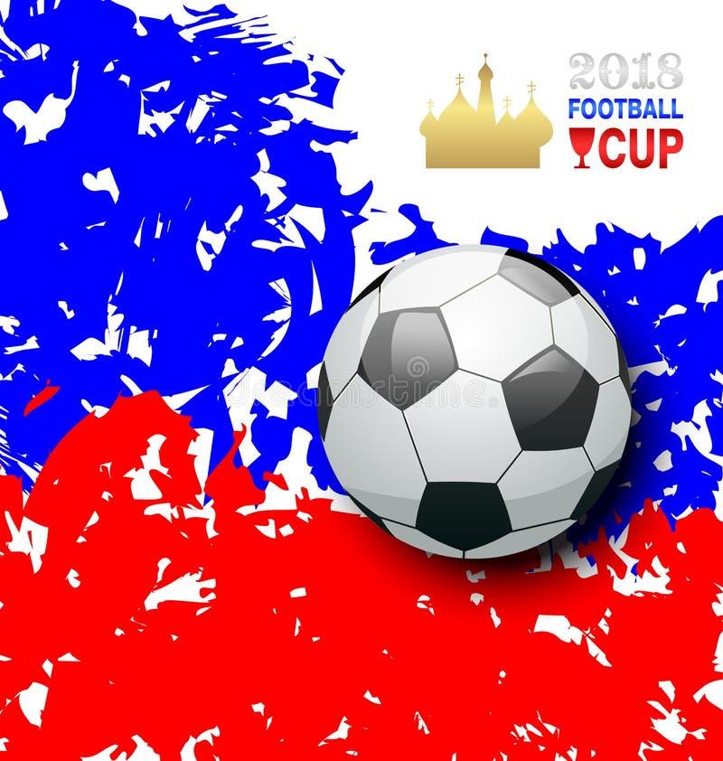 Grunge tło w Tradycyjnych kolorach flaga dla futbolu w Rosja 2018 ilustracji