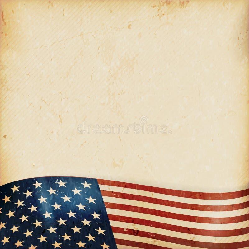 Grunge tło z falistą usa flaga ilustracji