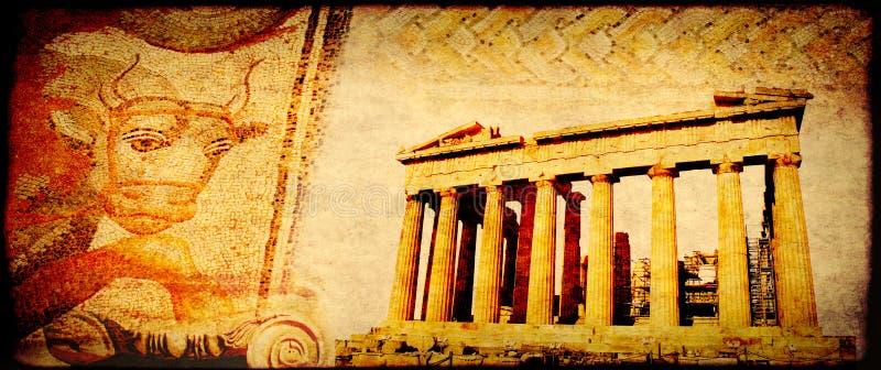 Grunge tło z papierową teksturą i punktami zwrotnymi Grecja fotografia stock