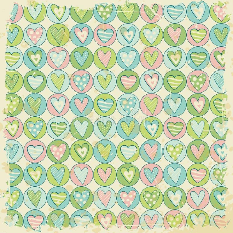 Grunge tło z serce wzorem ilustracji