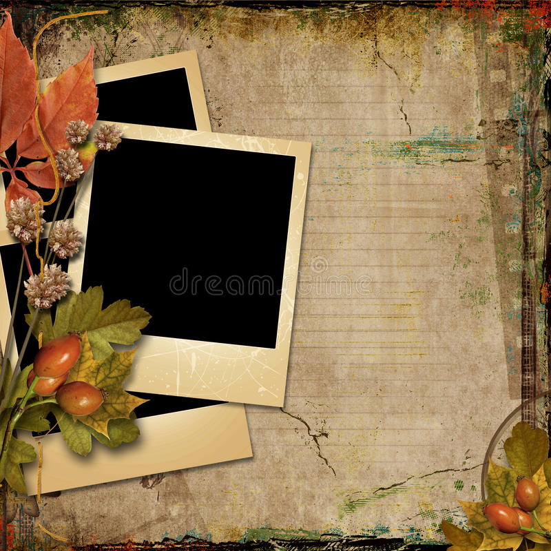 Grunge tło z starymi pocztówkami i jesień liśćmi ilustracji