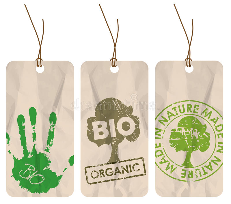 Grunge tags for organic / bio / eco stock illustration