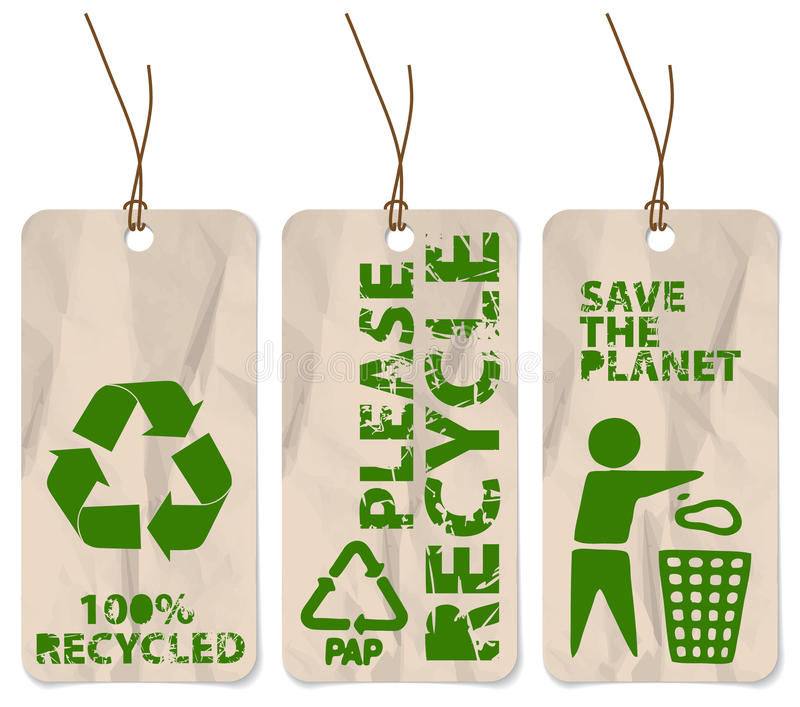 Grunge tags for recycling stock illustration