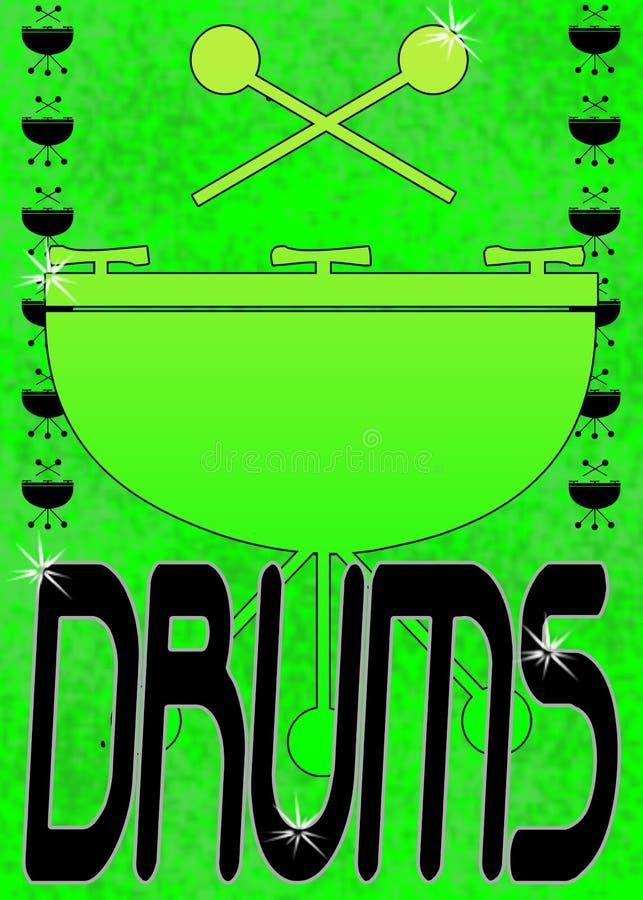 Grunge tamburella il manifesto o il blocco per grafici illustrazione vettoriale