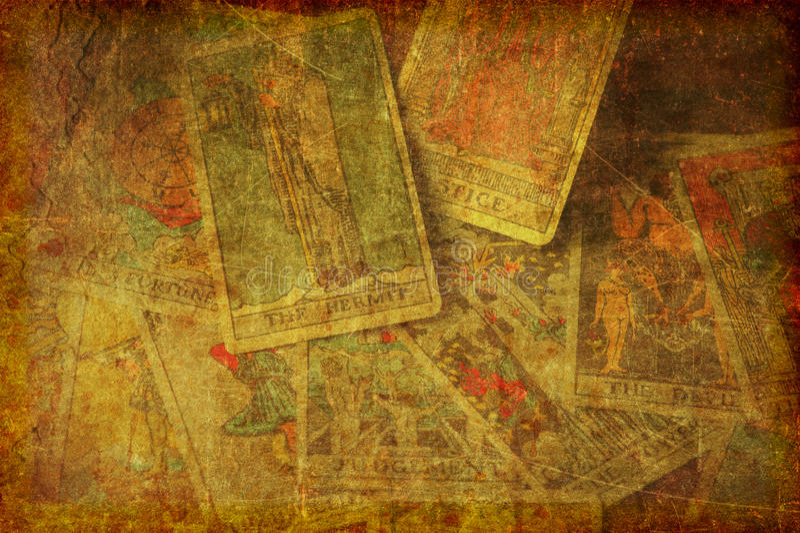 Grunge Tarot Cards Background Textured stock image
