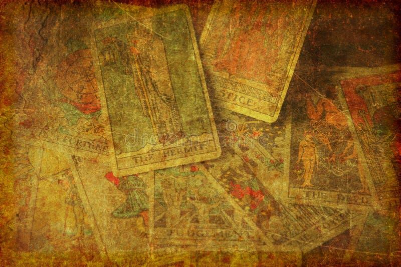 Grunge Tarot kart tło Textured obraz stock
