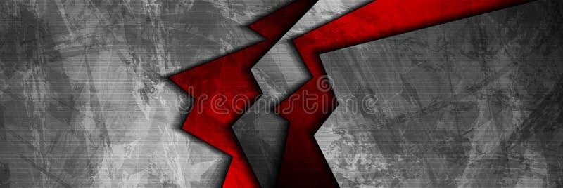 Grunge techniki materialna czerwień i popielaty sieć sztandar ilustracji