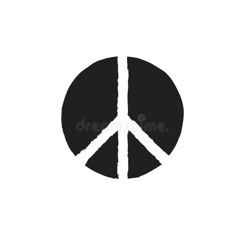 Grunge tekstury hipisa round pokoju czerni znak ilustracji