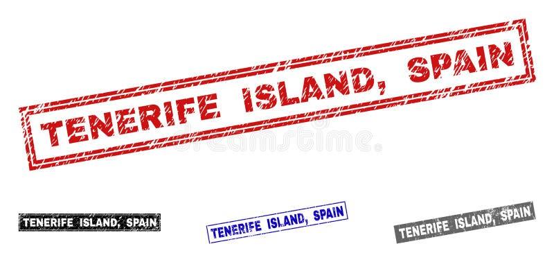 Grunge TENERIFE ISLAND, SPAIN Textured Rectangle Stamps vector illustration