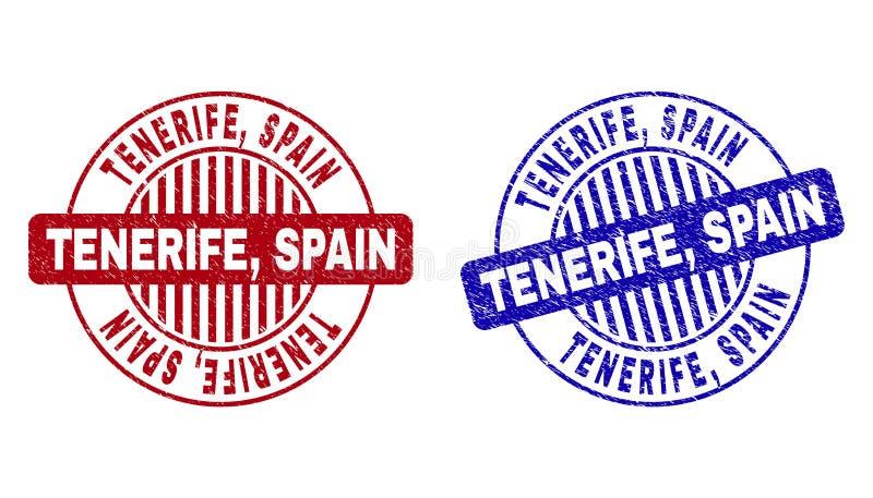 Grunge TENERIFE, SPAIN Textured Round Stamp Seals royalty free illustration