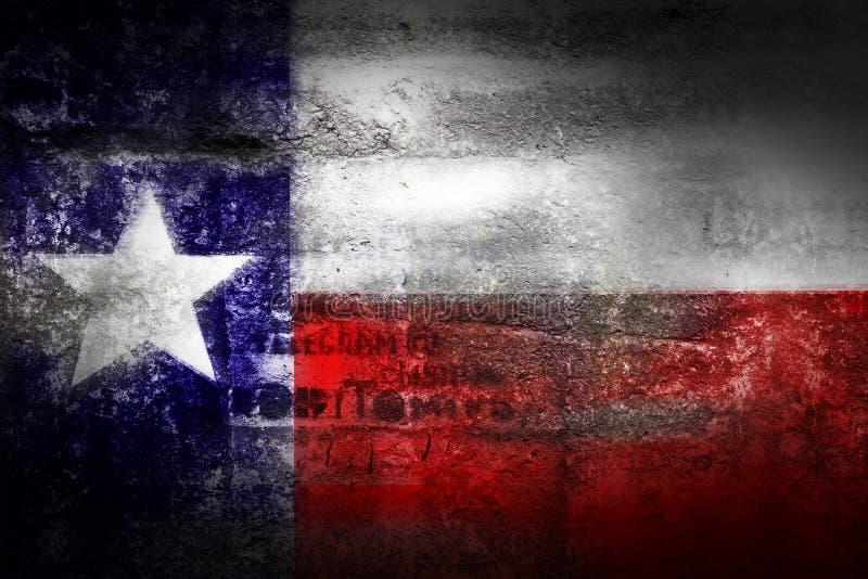 Grunge Texas USA flag on stone texture background. Closeup royalty free illustration