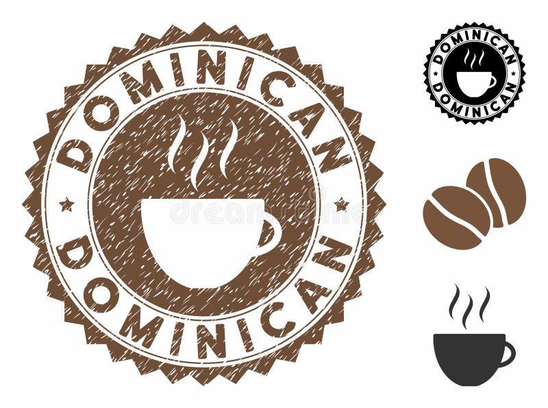 Grunge Textile Dominicain Sceau de timbre avec Café Cup illustration de vecteur