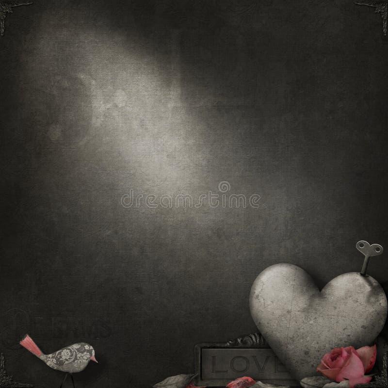 Grunge Textur in Sepia mit romantischen Themenelementen lizenzfreie abbildung