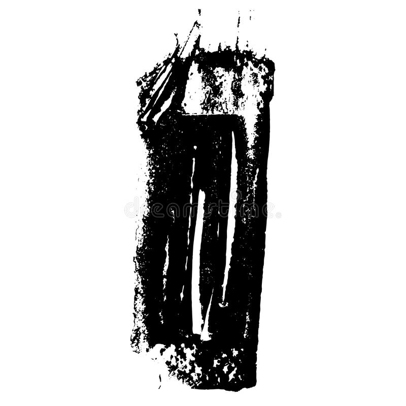 Grunge texture. Black brush on white. Vector template. Urban Background. stock illustration