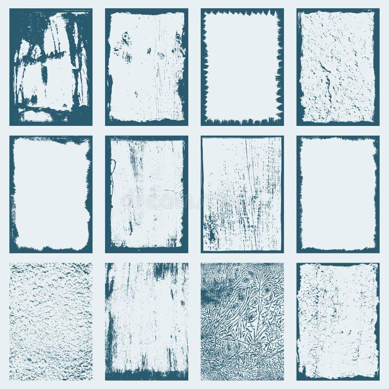 Grunge texture frames set vector illustration