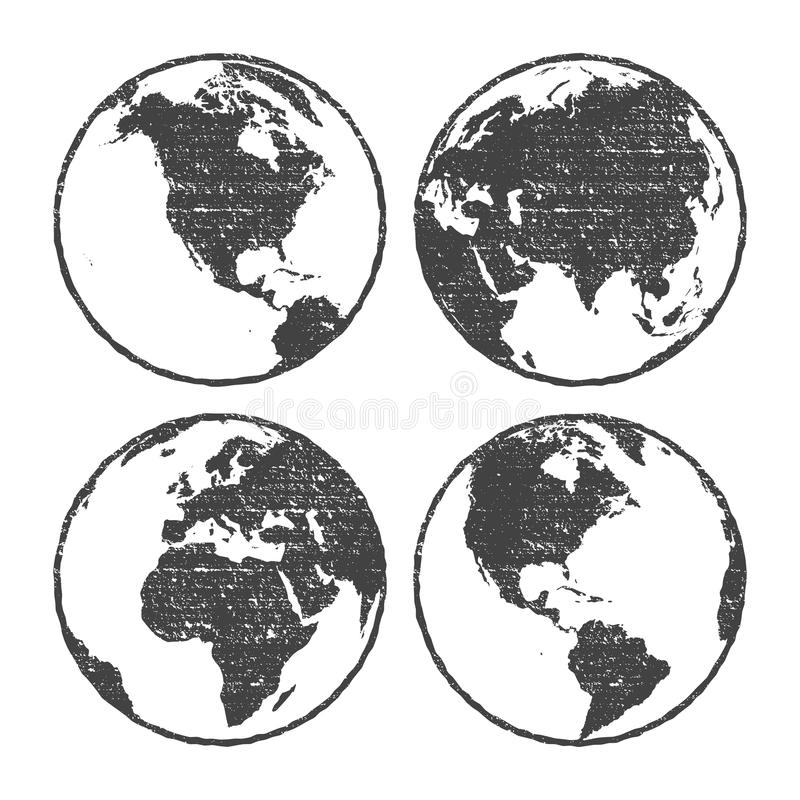 Grunge texture gray world map globe set transparent illustration stock illustration