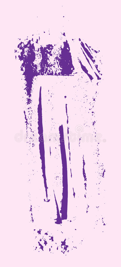 Grunge texture. Purple brush on pink. Vector template. Urban Background. Dust Overlay Distress Grain. Hand drawn illustration. Abstract shape for your design royalty free illustration