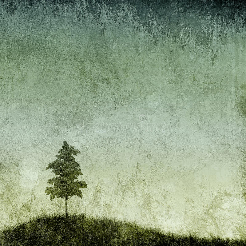 Grunge Texture with Single Tree. A single tree on a grassy hill with grunge background vector illustration