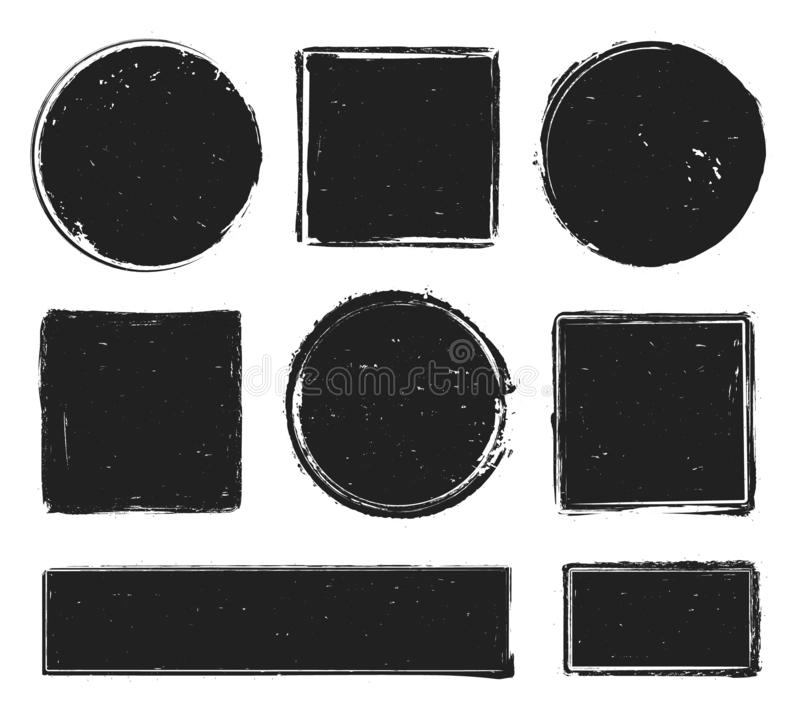 Grunge texture stamp. Circle label, square frame with grunge textures and rubber stamps prints isolated vector vector illustration