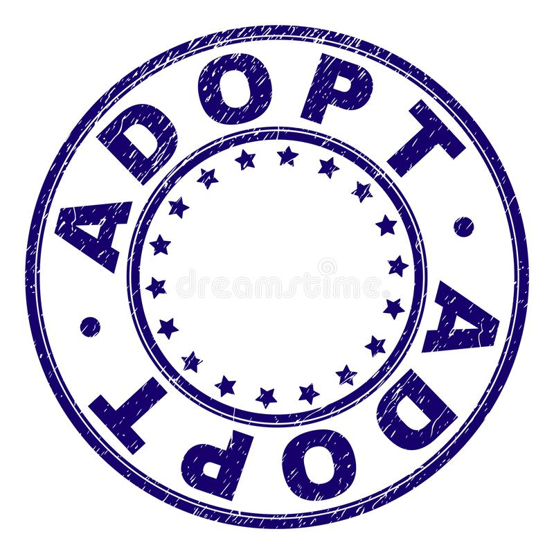Grunge Textured ADOPT Round Stamp Seal. ADOPT stamp seal imprint with grunge effect. Designed with circles and stars. Blue vector rubber print of ADOPT caption royalty free illustration
