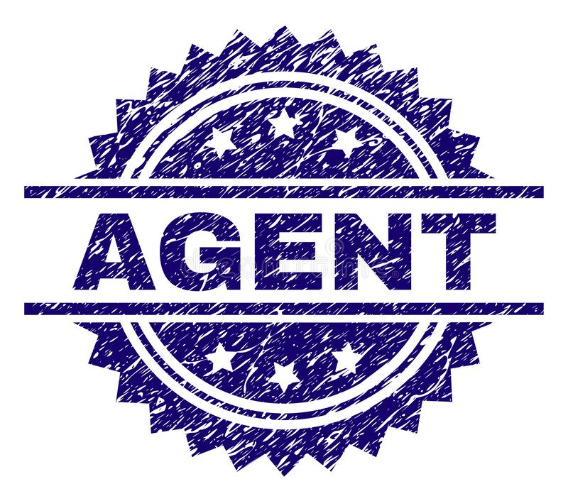 Grunge Textured AGENT Stamp Seal. AGENT stamp seal watermark with distress style. Blue vector rubber print of AGENT title with corroded texture vector illustration
