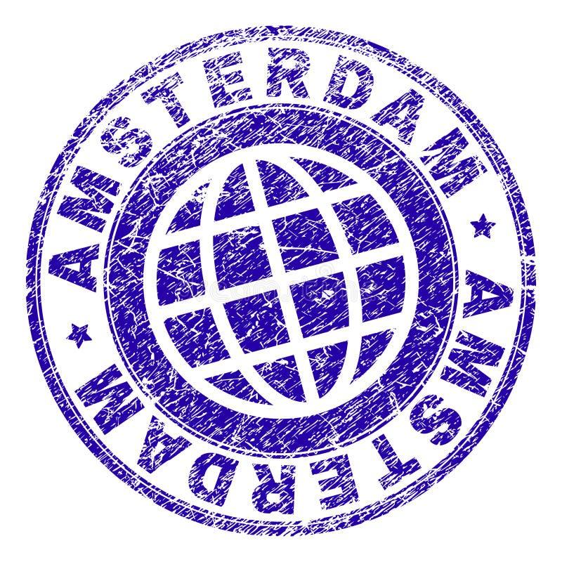 Grunge Textured AMSTERDAM znaczka fokę ilustracja wektor