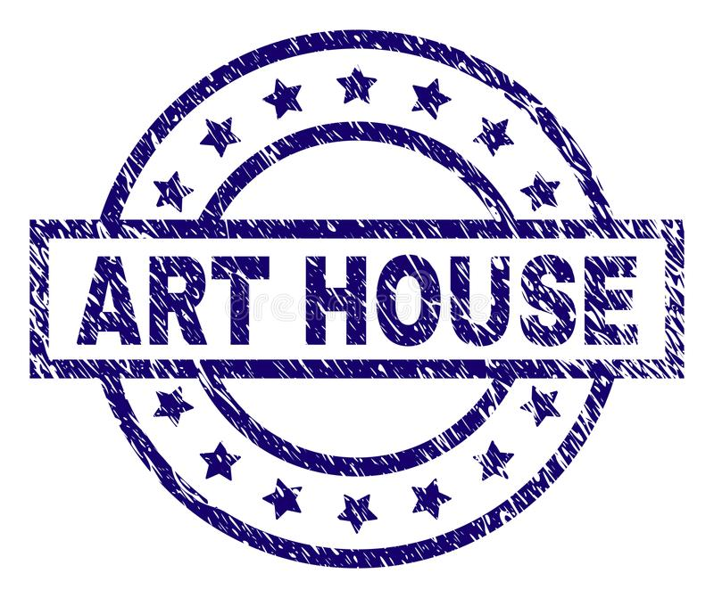 Grunge Textured ART HOUSE Stamp Seal. ART HOUSE seal stamp with dirty texture. Designed with rectangle, circles and stars. Blue vector rubber print of ART HOUSE royalty free illustration
