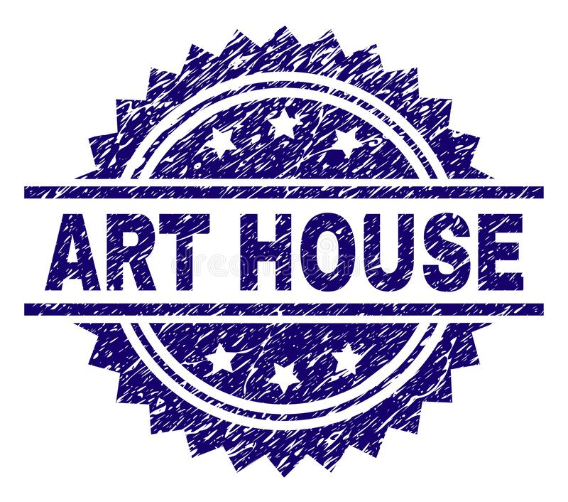 Grunge Textured ART HOUSE Stamp Seal. ART HOUSE stamp seal watermark with distress style. Blue vector rubber print of ART HOUSE caption with dirty texture vector illustration