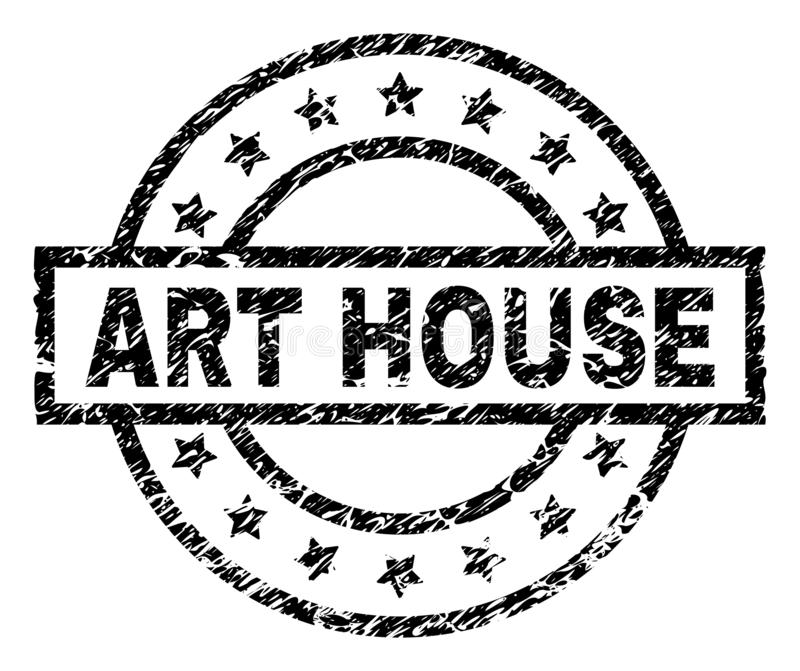 Grunge Textured ART HOUSE Stamp Seal. ART HOUSE stamp seal watermark with distress style. Designed with rectangle, circles and stars. Black vector rubber print vector illustration