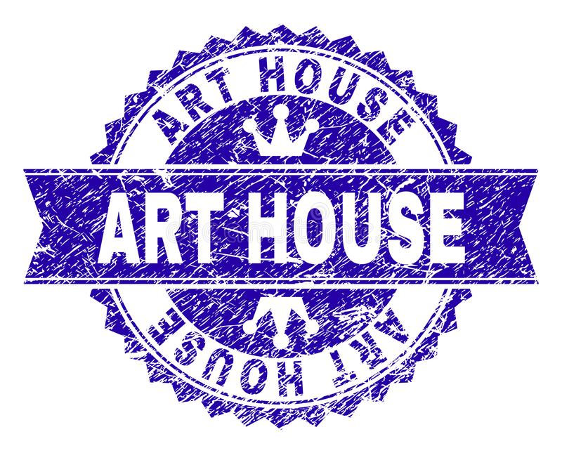 Grunge Textured ART HOUSE Stamp Seal with Ribbon. ART HOUSE rosette stamp seal overlay with grunge style. Designed with round rosette, ribbon and small crowns royalty free illustration