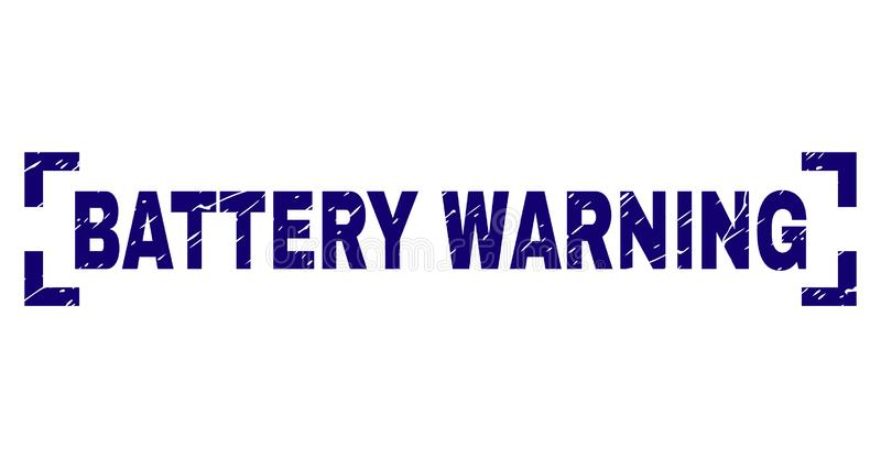 Grunge Textured BATTERY WARNING Stamp Seal Between Corners. BATTERY WARNING text seal watermark with grunge texture. Text tag is placed inside corners. Blue vector illustration