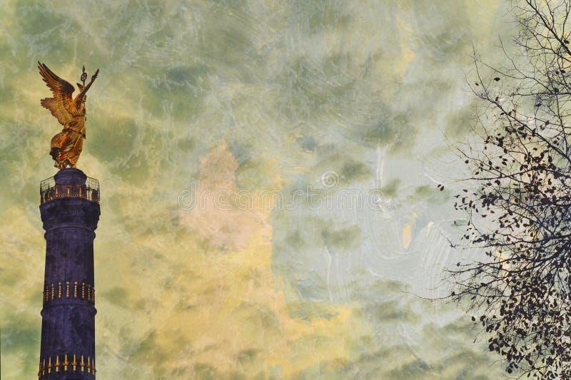 Grunge textured Berlińska zwycięstwo kolumna obraz royalty free