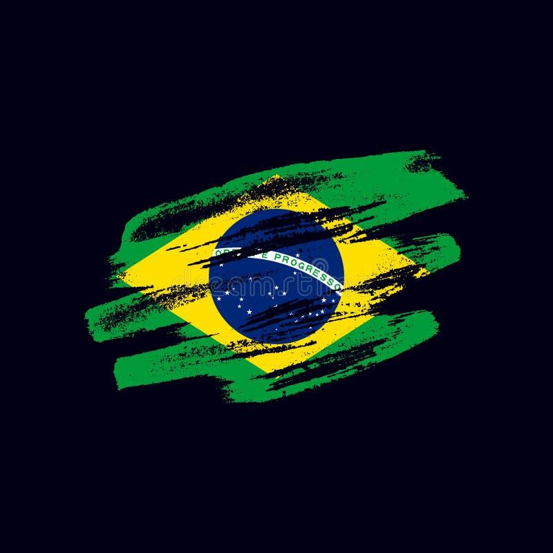Grunge textured Brazilian flag royalty free illustration