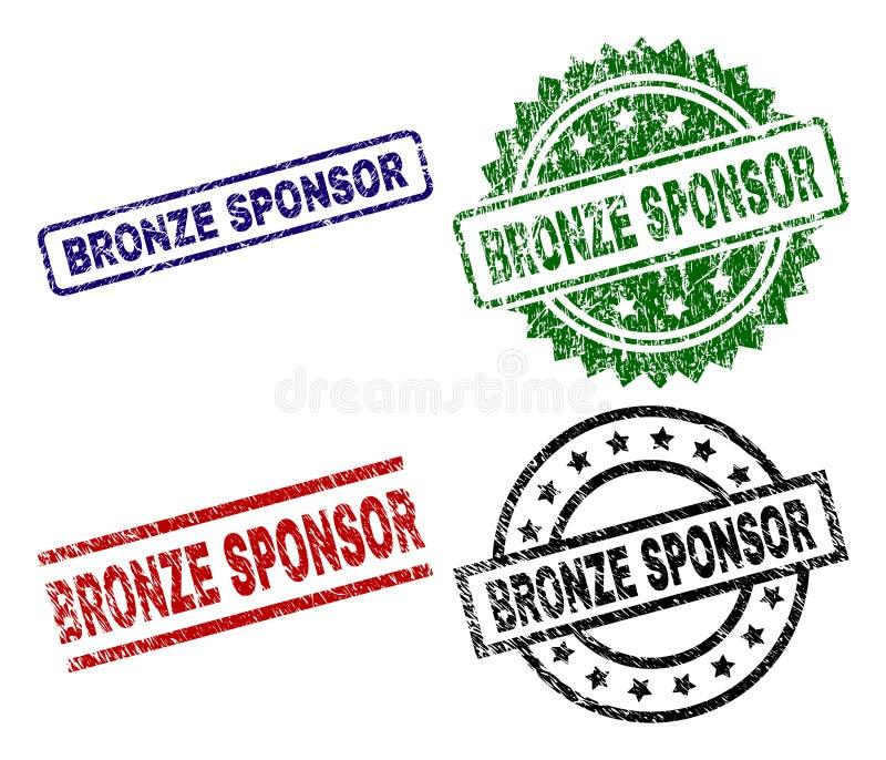 Grunge Textured BRONZE SPONSOR Seal Stamps vector illustration