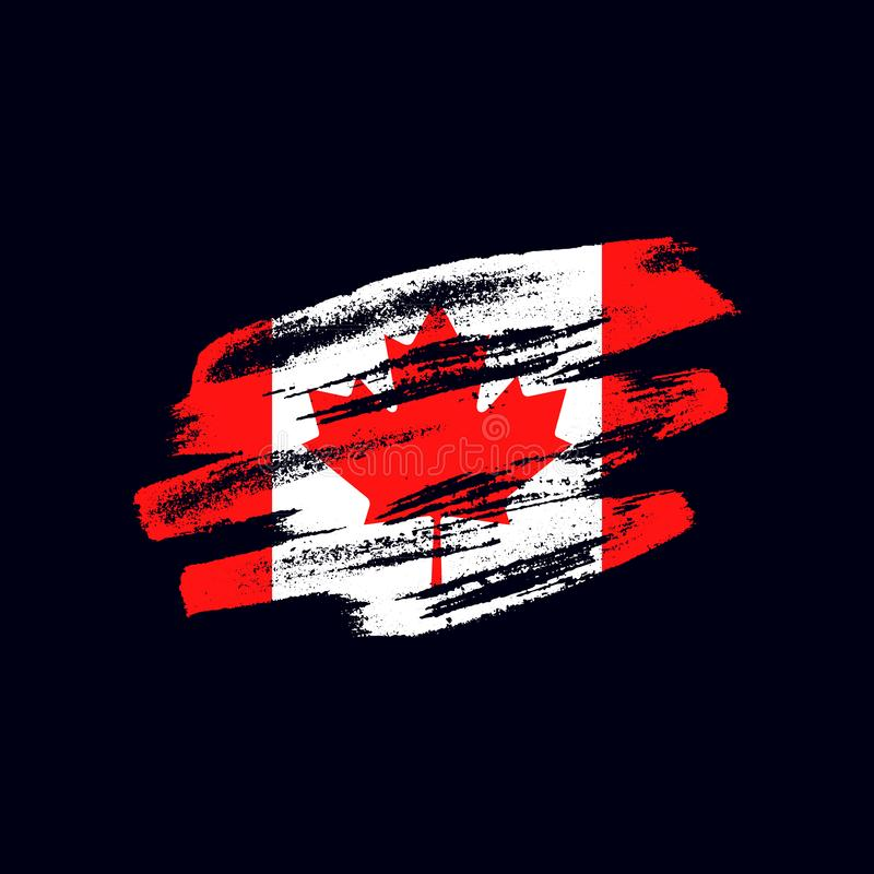 Grunge textured Canadian flag. Vector brush painted flag of Canada isolated on dark blue background. Frayed and scratched the national symbol of the North vector illustration