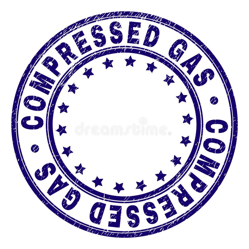 Grunge Textured COMPRESSED GAS Round Stamp Seal. COMPRESSED GAS stamp seal watermark with grunge texture. Designed with round shapes and stars. Blue vector vector illustration