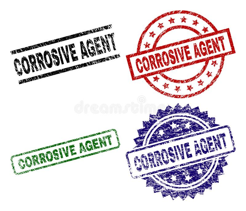 Grunge Textured CORROSIVE AGENT Seal Stamps. CORROSIVE AGENT seal prints with corroded texture. Black, green,red,blue vector rubber prints of CORROSIVE AGENT vector illustration