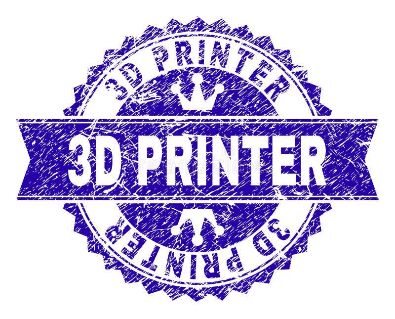 Grunge Textured 3D drukarki znaczka fokę z faborkiem ilustracja wektor