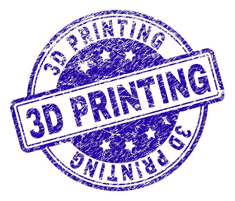 Grunge Textured 3D druku znaczka fokę royalty ilustracja
